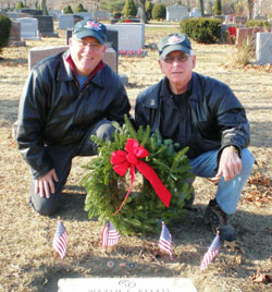 Vic Bandini and John Wiklanski at Wayne Allen's grave 12 11 2010