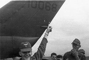 WO-1 Wally Dunning pointing to his cherry hit on 65-10068 on 5 Jan 67
