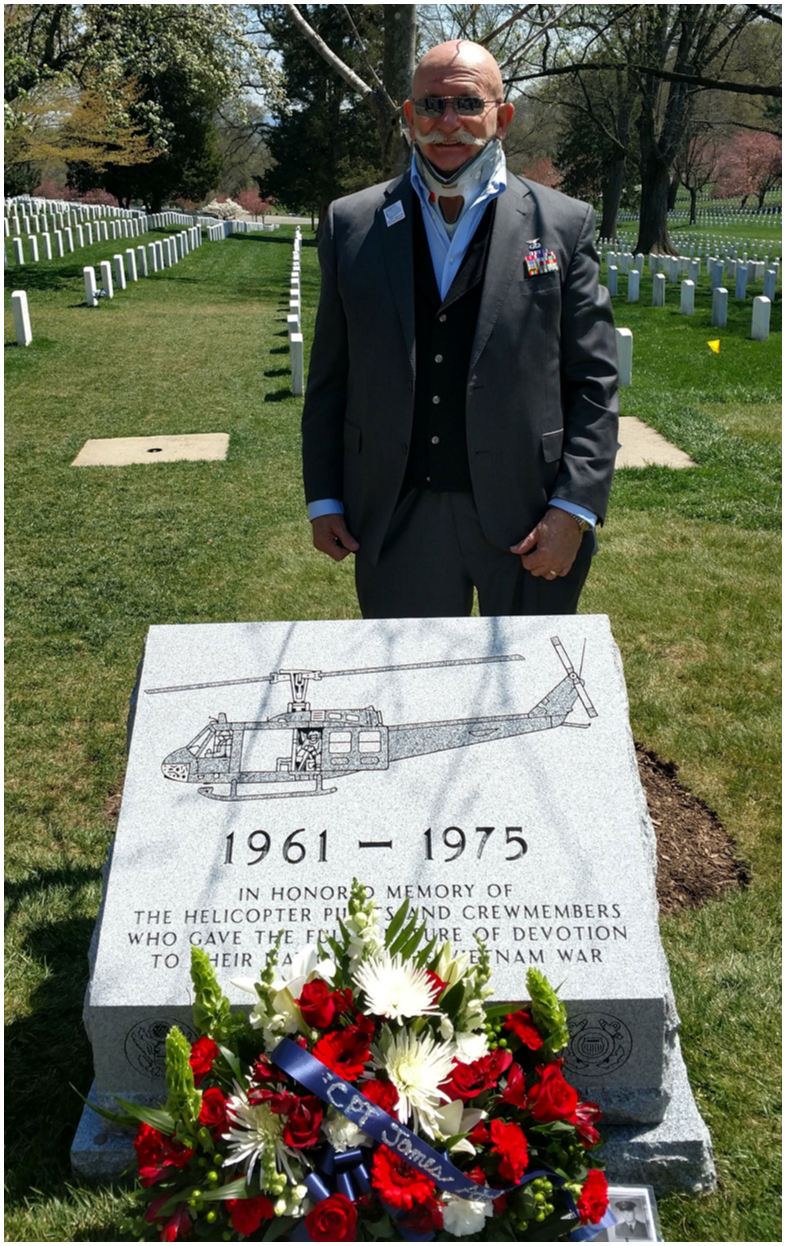 Ron Markiewicz with the completed Vietnam Helicopter Crew Memorial